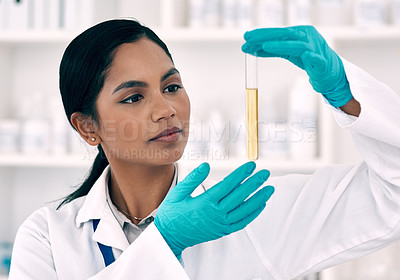 Buy stock photo Cropped shot of an attractive young female scientist inspecting a test tube containing a gold liquid while working in a laboratory
