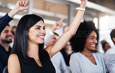 Buy stock photo Cropped shot of a group of businesspeople raising their hands to ask questions during a conference