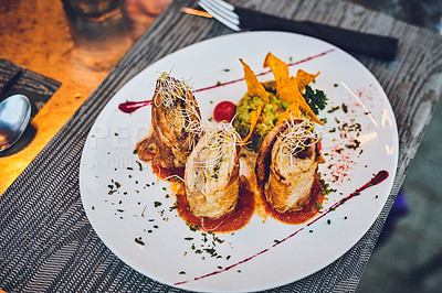 Buy stock photo Cropped shot of a neatly arranged meal on a plate in a cafe in Spain