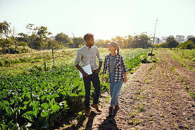 Buy stock photo Full length shot of two young farmers walking around and inspecting their farm