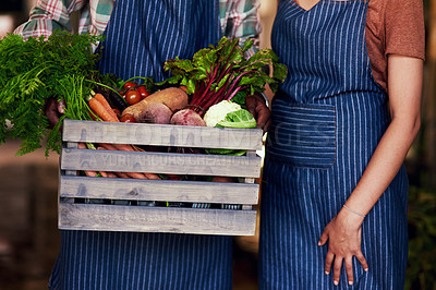 Buy stock photo Cropped shot of two unrecognizable farm workers holding a crate full of fresh produce at their farm