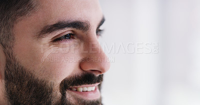 Buy stock photo Closeup shot of a young businessman smiling in an office