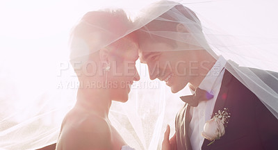 Buy stock photo Cropped shot of an affectionate young newlywed couple smiling at each other while covering themselves with a veil on their wedding day