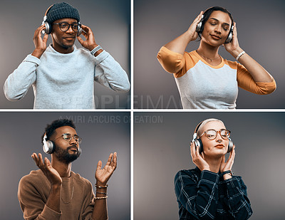 Buy stock photo Composite image of young people listening to music on their headphones against a grey background