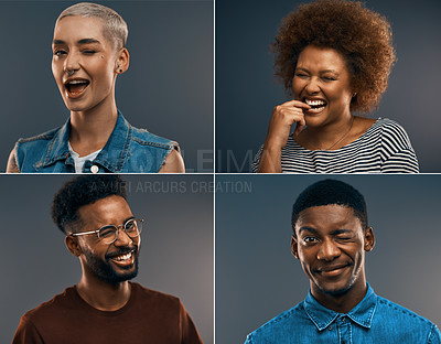 Buy stock photo Composite image of young people making different facial expressions against a grey background