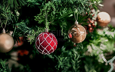 Buy stock photo Closeup of decorations on a Christmas tree during the holiday season