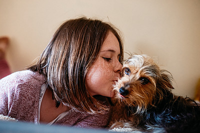 Buy stock photo Cropped shot of an adorable young girl bonding with her dog