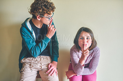 Buy stock photo Cropped shot of two playful siblings standing together at home