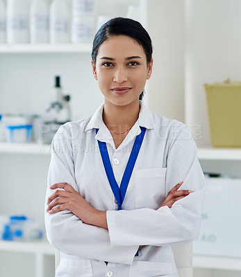 Buy stock photo Portrait of a confident young woman working in a laboratory
