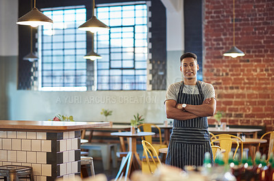 Buy stock photo Portrait of a young man working in a cafe