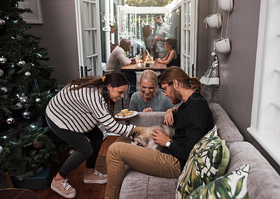 Buy stock photo Cropped shot of two cheerful friends hanging out together with a puppy in the living room at home during christmas time