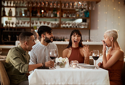 Buy stock photo Cropped shot of a group of friends enjoying drinks together