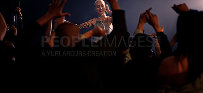 Buy stock photo Cropped shot of an attractive young female disc jockey entertaining a crowd in a nightclub