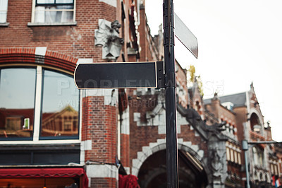 Buy stock photo Still life shot of street signs in the city of Amsterdam in Netherlands