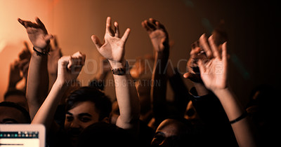 Buy stock photo Cropped shot of unrecognizable  crowd dancing around a turntable in a nightclub