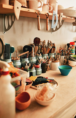 Buy stock photo Closeup shot of work tools in a pottery workshop