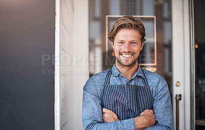Buy stock photo Portrait of a young man standing outside his cafe