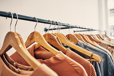 Buy stock photo Shot of a clothing rail in a boutique