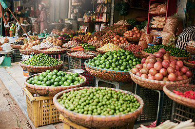 Buy stock photo Shot of fresh produce in a market stall in Vietnam
