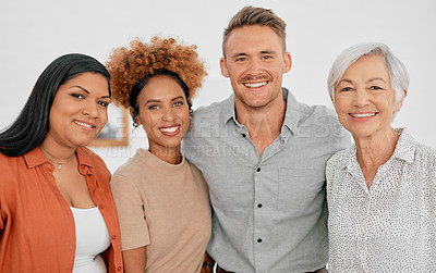 Buy stock photo Portrait of a group of diverse businesspeople working together in a modern office