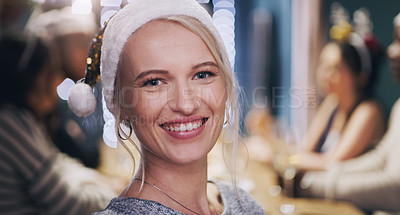 Buy stock photo Portrait of a young woman having a dinner party with friends at home