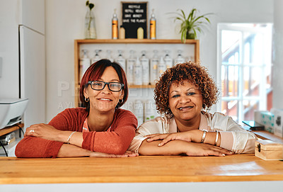 Buy stock photo Cropped portrait of two attractive hairdressers standing and leaning on the reception countertop in the salon