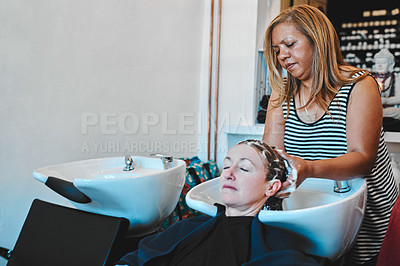 Buy stock photo Cropped shot of an attractive young hairdresser standing and washing her client's hair at a basin in the salon