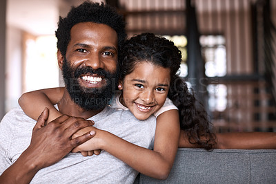 Buy stock photo Portrait of an adorable little girl bonding and spending time with her father at home