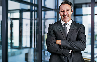 Buy stock photo Cropped portrait of a handsome mature businessman smiling while standing with his arms crossed in a modern office