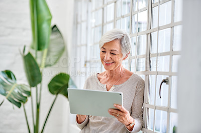 Buy stock photo Cropped shot of a senior businesswoman standing alone in her office and using her tablet