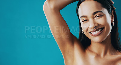 Buy stock photo Cropped shot of a beautiful young woman showing off her underarms