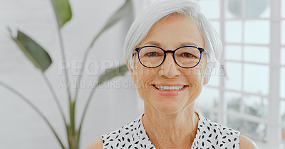 Buy stock photo Portrait of a confident senior businesswoman working in a modern office