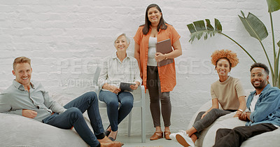 Buy stock photo Portrait of a group of diverse businesspeople having a meeting in a modern office