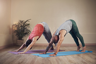 Buy stock photo Full length shot of two unrecognizable yogis holding a downward facing dog during an indoor yoga session