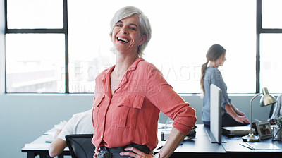 Buy stock photo Portrait of a confident mature businesswoman working in a modern office with her colleagues in the background