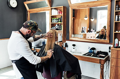 Buy stock photo Cropped shot of a male hairdresser styling a woman's hair inside a salon
