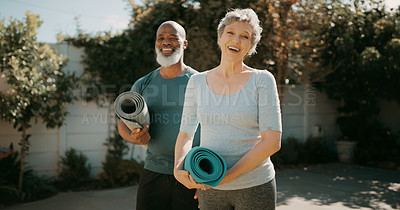 Buy stock photo Cropped portrait of a happy senior couple standing together before a yoga session in their back garden