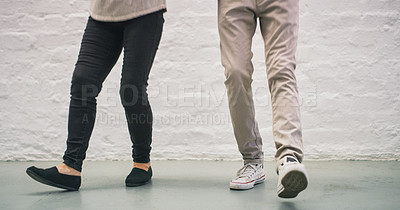 Buy stock photo Cropped shot of a businessman and businesswoman dancing in a modern office