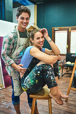 Buy stock photo Cropped portrait of an artistic young couple smiling in an art studio