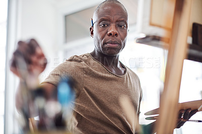 Buy stock photo Cropped shot of a man painting in a art studio