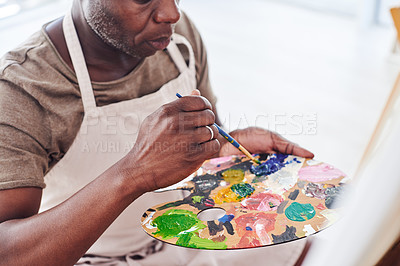 Buy stock photo Cropped shot of an unrecognizable man holding a painter's palette
