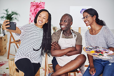 Buy stock photo Cropped shot of a group of painters taking a selfie in a art studio
