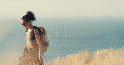 Buy stock photo Shot of a young woman out on a hike