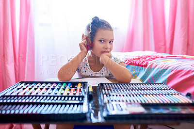Buy stock photo Portrait of an adorable little girl drawing in her bedroom at home