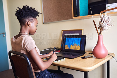 Buy stock photo Cropped shot of an attractive young female university student using a drawing pad to draw on her laptop in her room