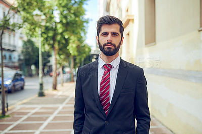 Buy stock photo Portrait of a young businessman in the city