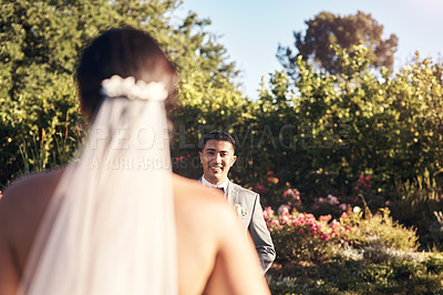 Buy stock photo Cropped shot of a young man looking at his bride