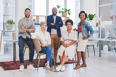 Buy stock photo Portrait of a diverse group of businesspeople in an office