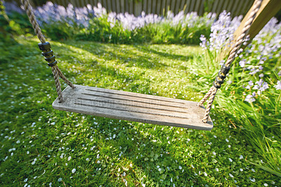 Buy stock photo A robe swing in the garden