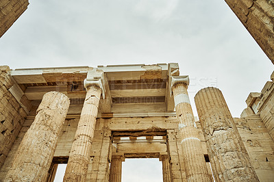 Buy stock photo Cropped shot of the Propylaea in Athens while sight-seeing in Greece during the day